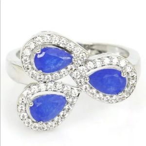Sapphire and CZ Ring Sz 7.5 New